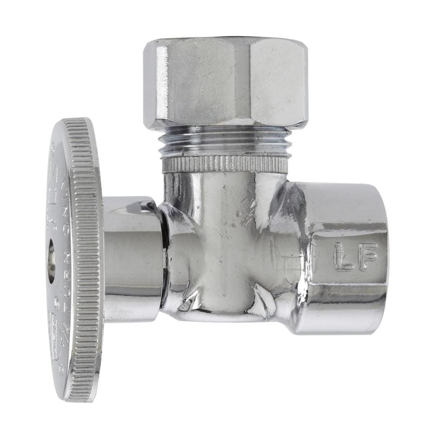 Keeney Lead Free Angle Valve Quarter Turn 1/2-in FIP x 7/16-in or 1/2-in OD Chrome