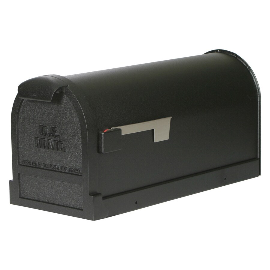 First Class Estate 9.5-in x 11-in Metal Black Post Mount Mailbox