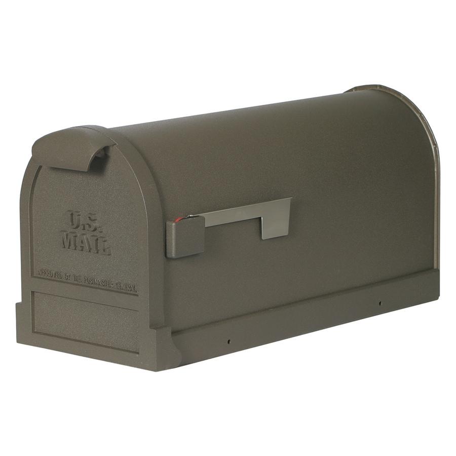 First Class Estate 9.8-in x 11-in Metal Bronze Post Mount Mailbox