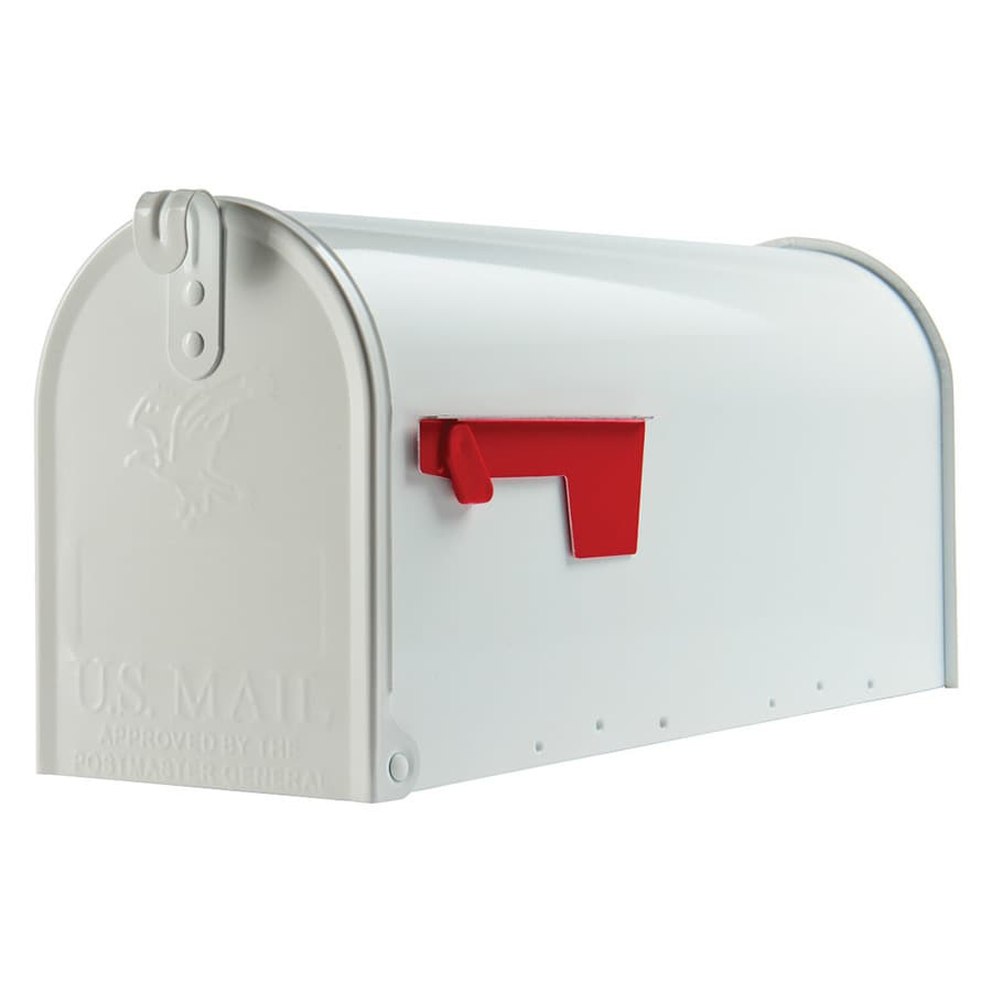 Gibraltar Mailboxes Elite Standard Metal White Post Mount Mailbox In The Mailboxes Department At Lowes Com