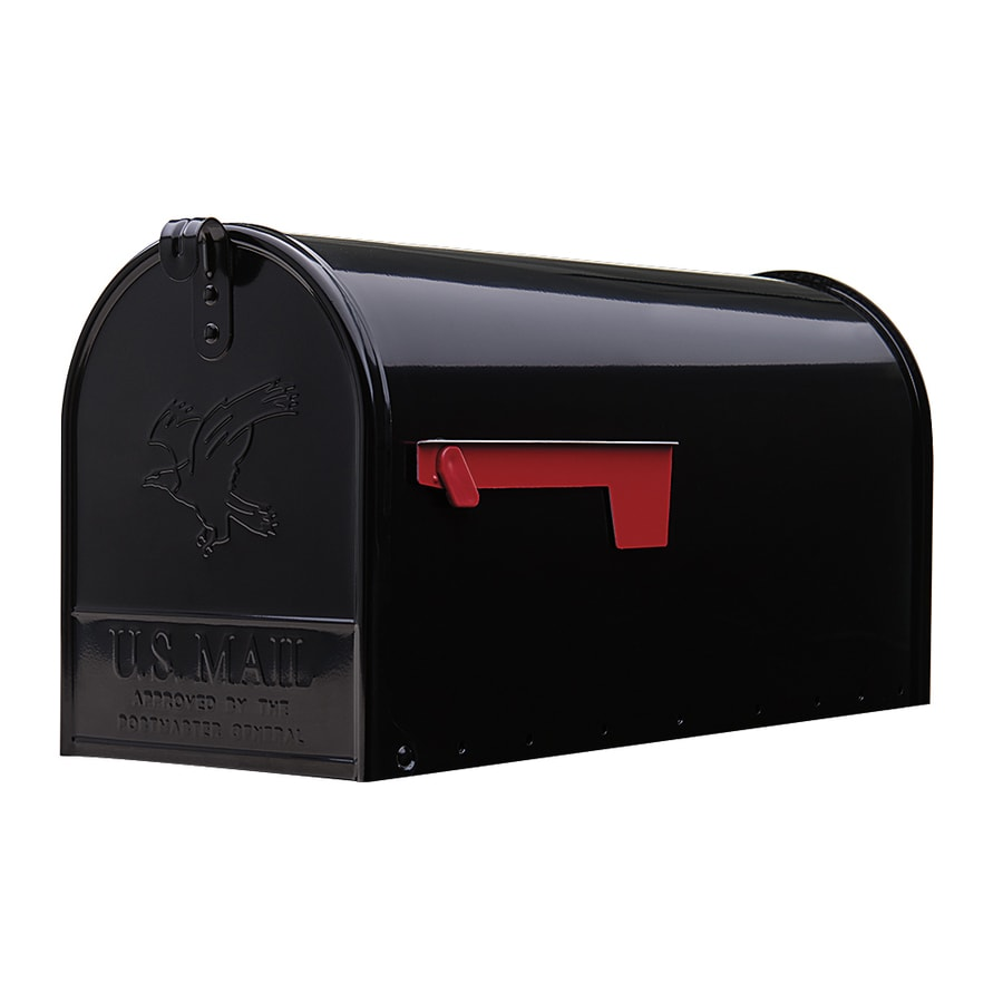 Gibraltar Industries Elite Large 8.7-in W x 10.9-in H Metal Black Post Mount Mailbox