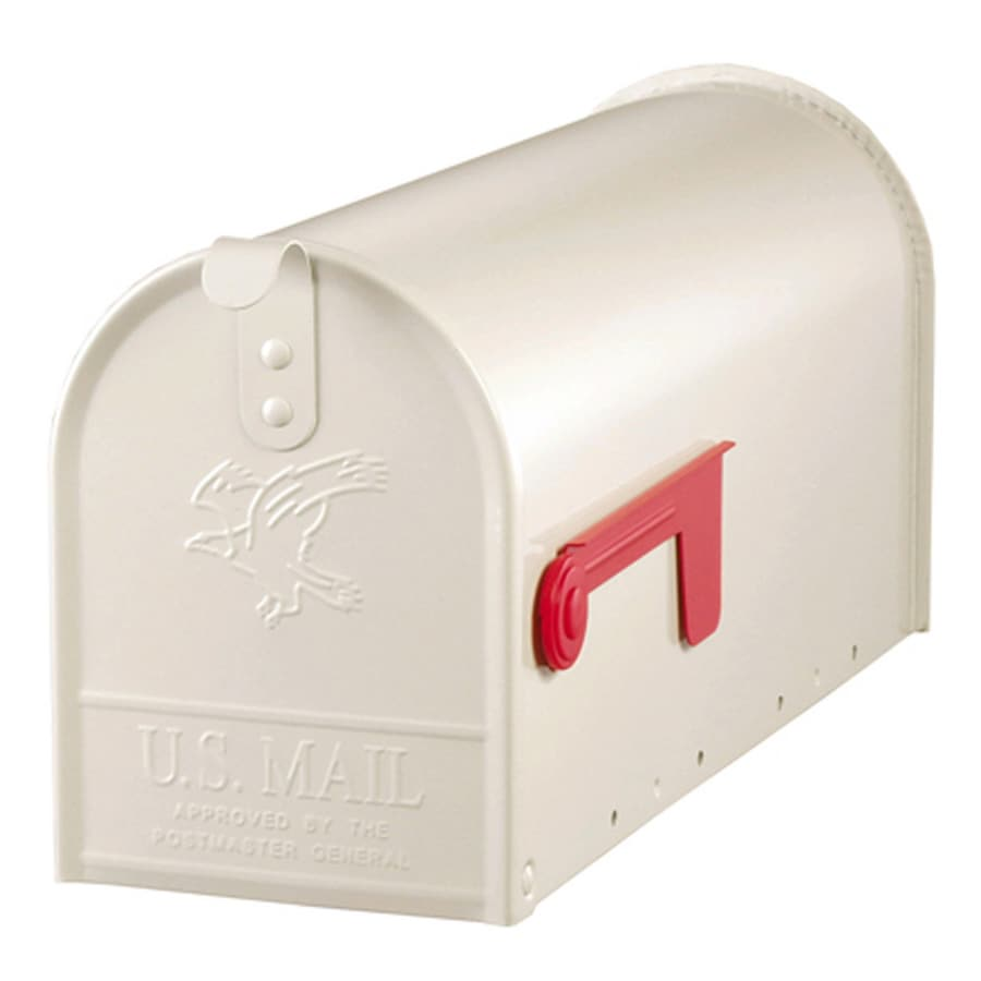 PostMaster Classic 6.9-in x 8.9-in Metal White Post Mount Mailbox