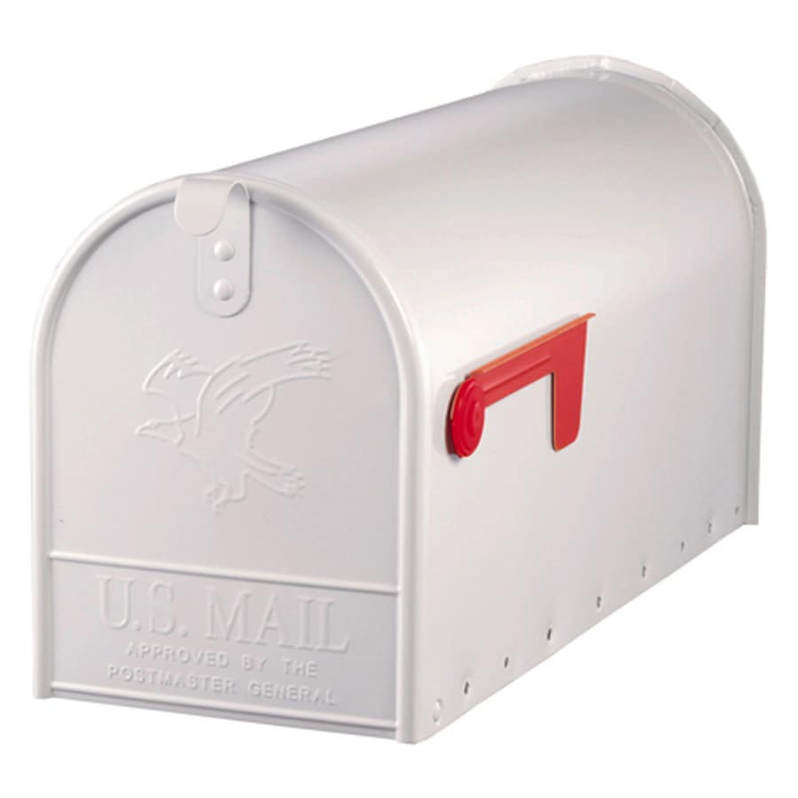 PostMaster Classic 8.7-in x 10.9-in Metal White Post Mount Mailbox