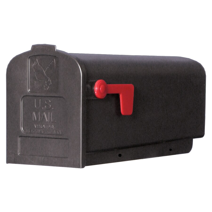 PostMaster 7.9-in x 9.6-in Plastic Black Post Mount Mailbox