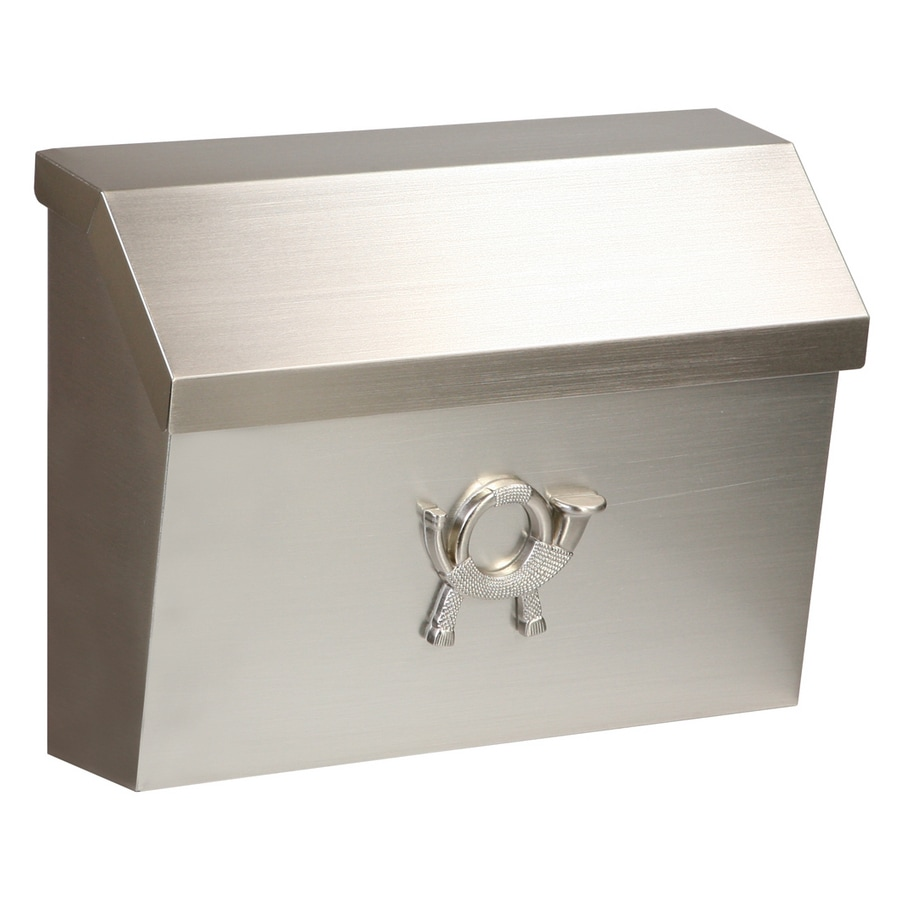 postmaster 1375in x 105in metal satin nickel wall mount mailbox