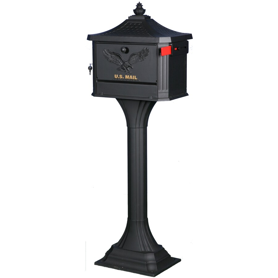 First Class 18-in x 50.25-in Metal Black Lockable Post Mount Mailbox with Post