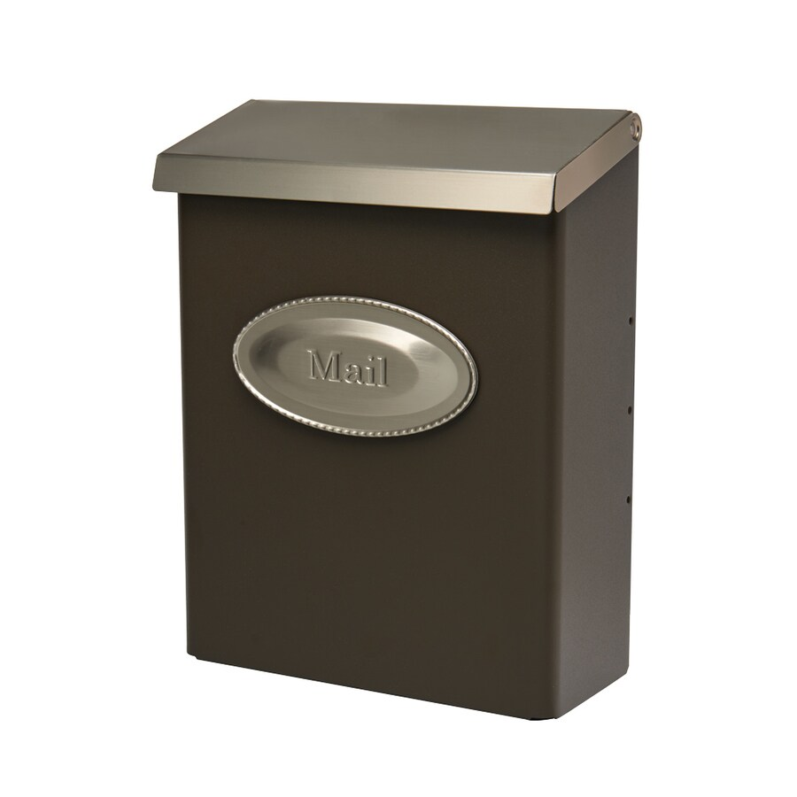 Designer 9.7-in x 12.6-in Metal Bronze/Satin Nickel Lockable Wall Mount Mailbox