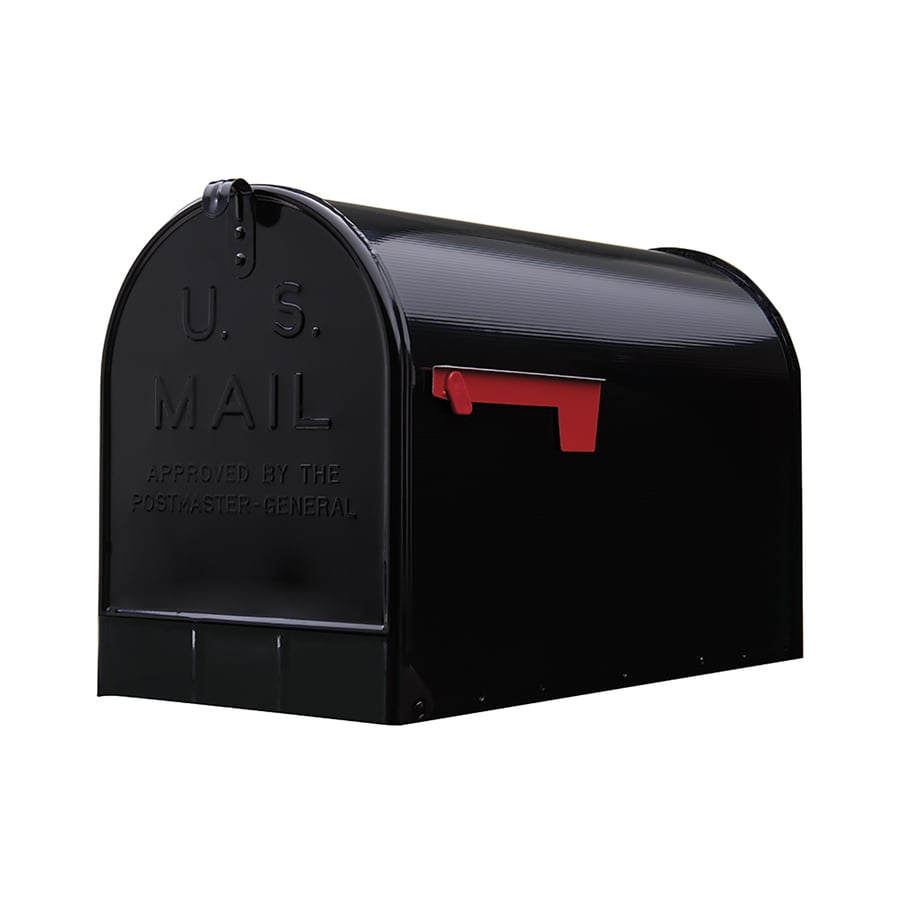 PostMaster 11.125-in x 15-in Metal Black Post Mount Mailbox