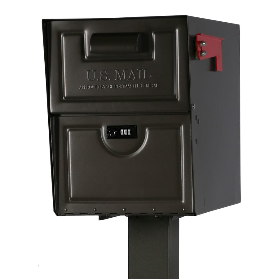 The Solar Group Armory 13.625-in x 17.25-in Metal Bronze Lockable Post Mount Mailbox