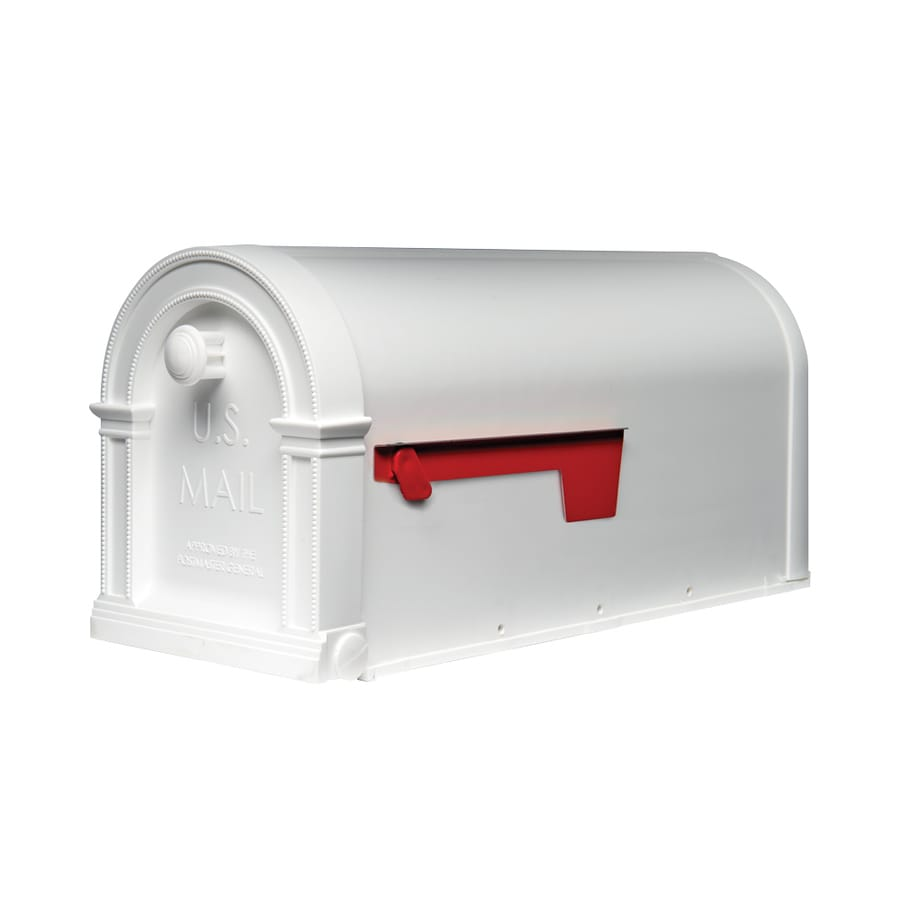 Gibraltar Industries Laurel 7.7-in x 9.4-in Plastic Arctic White Post Mount Mailbox