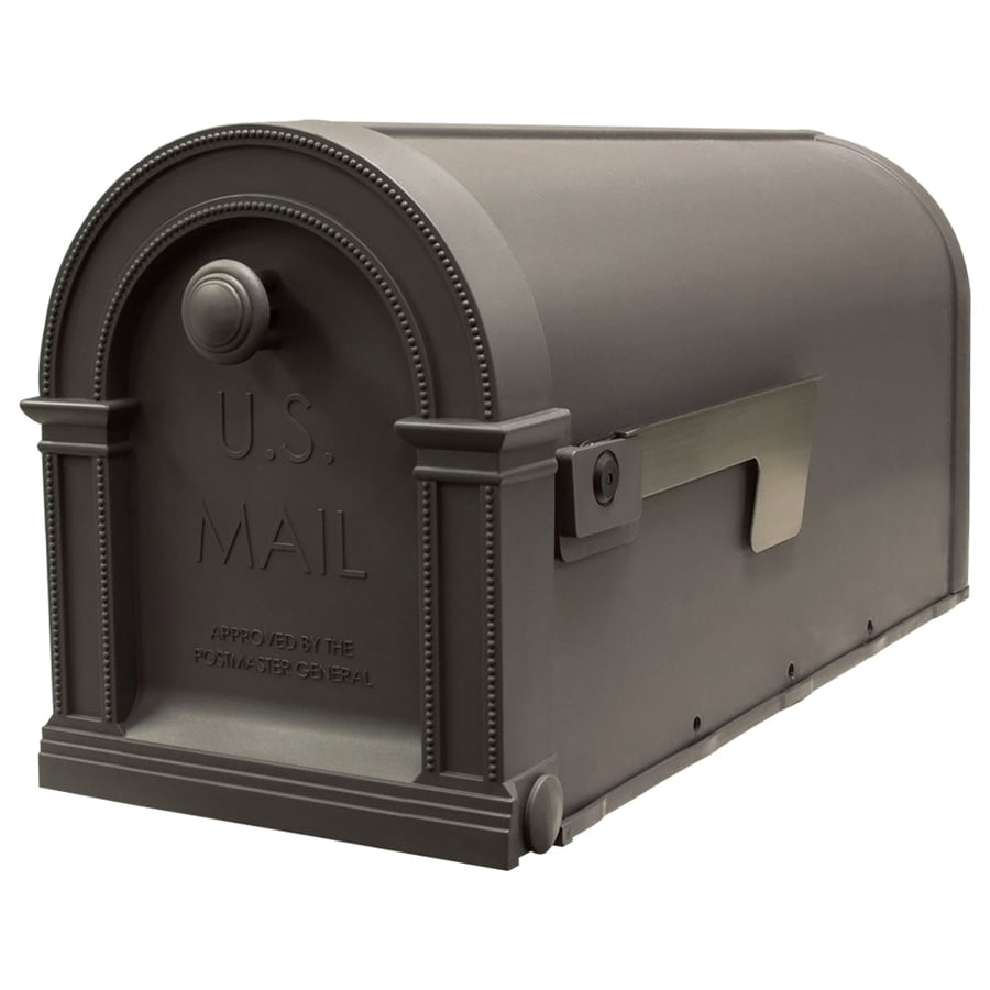 Gibraltar Industries Laurel 7.875-in x 9.75-in Plastic Rustic Weatherwood Post Mount Mailbox
