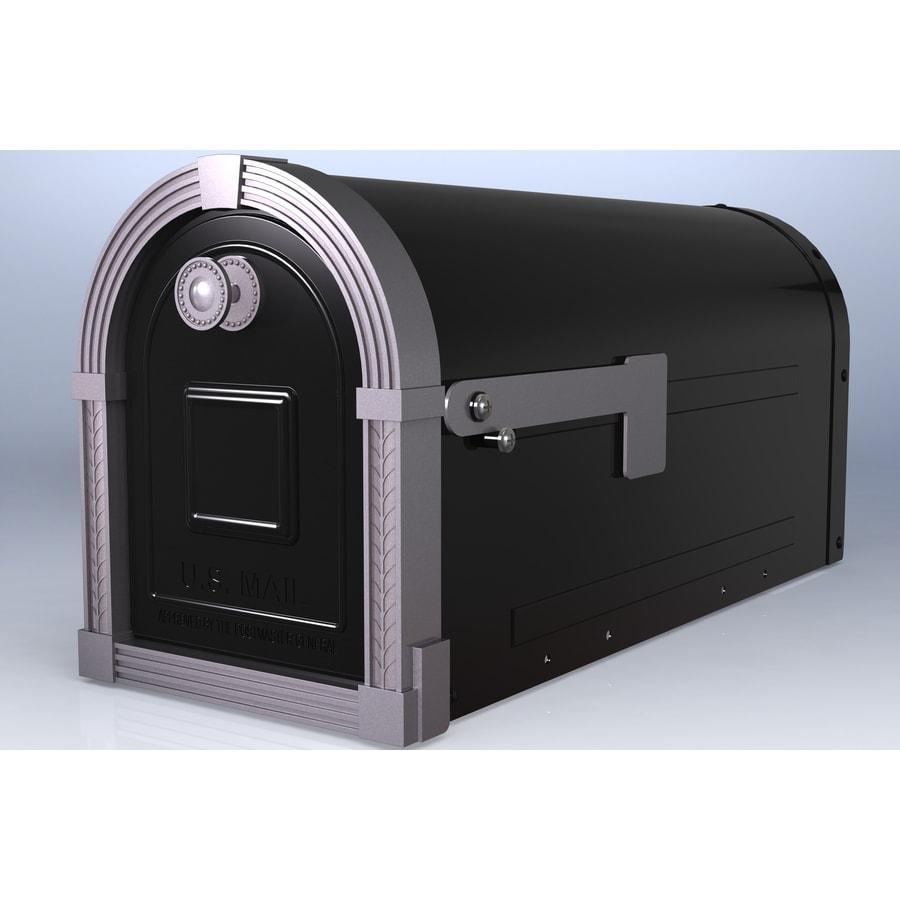 PostMaster Brunswick 9.375-in x 11-in Metal Black Post Mount Mailbox