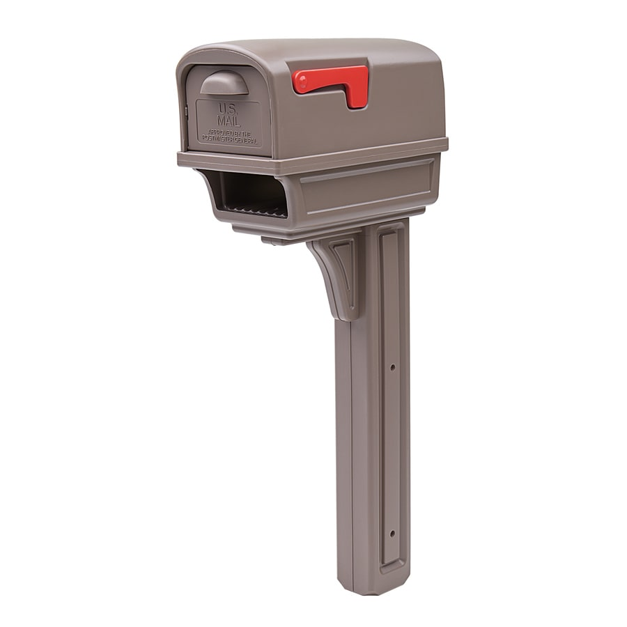 Gibraltar Industries 11.9-in W x 49.6-in H Plastic Mocha Post Mount Mailbox With Post
