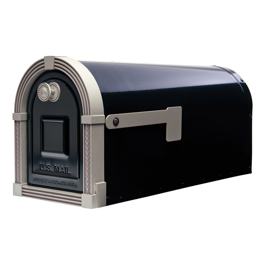 Gibraltar Industries Brunswick 8.9-in x 10.8-in Metal Black/Brushed Nickel Post Mount Mailbox