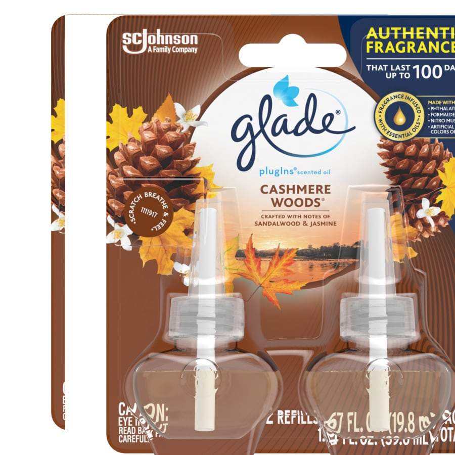 Glade 2-Pack Cashmere Woods Plug-in Electric Air Freshener Refills