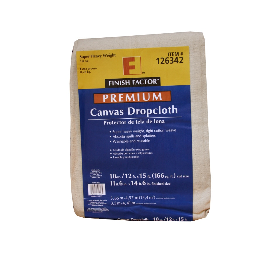 Blue Hawk 10-oz Canvas Drop Cloth (Common: 15.0-ft x 12.0-ft; Actual 15.0-ft x 12.0-ft)