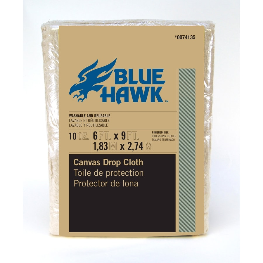 Blue Hawk 10-oz Canvas Drop Cloth (Common: 6-ft x 9-ft; Actual 6-ft x 9-ft)