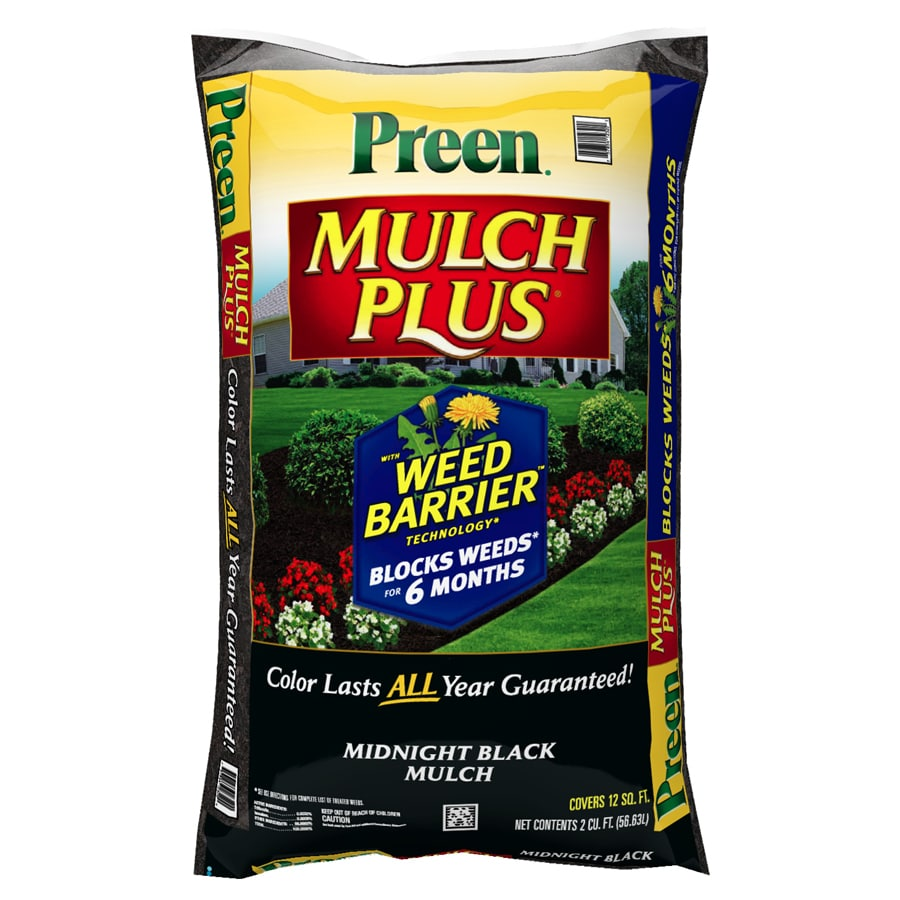 Preen Mulch Plus 2-cu ft Black Shredded Mulch