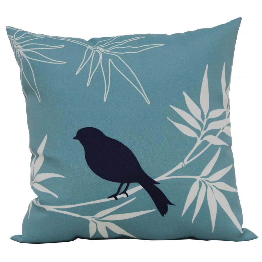 Garden Treasures Blue Floral Square Outdoor Decorative Pillow