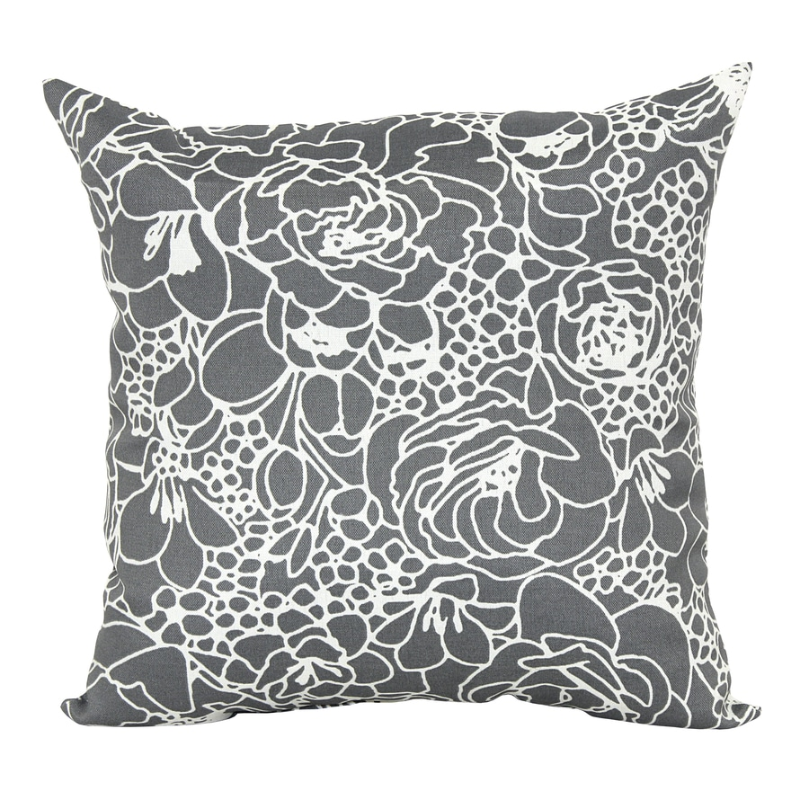 Decorative Pillow Covers Lowes : Shop Garden Treasures Gray Floral Square Outdoor Decorative Pillow at Lowes.com