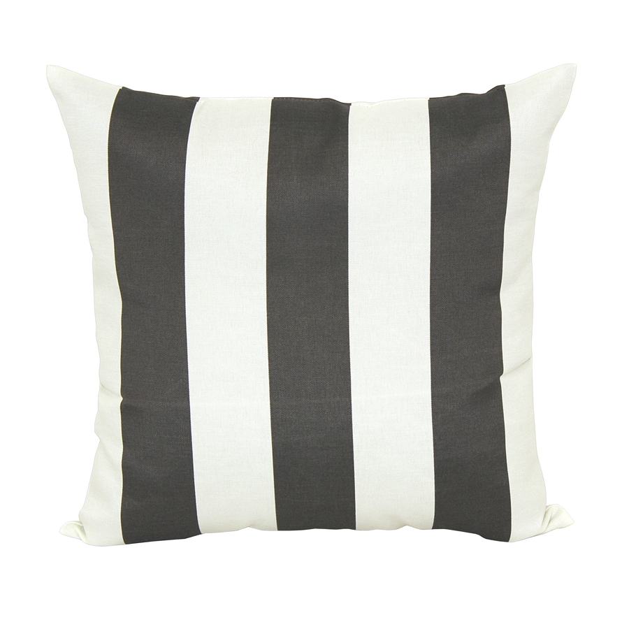 Garden Treasures Black/White Stripe Square Outdoor Decorative Pillow