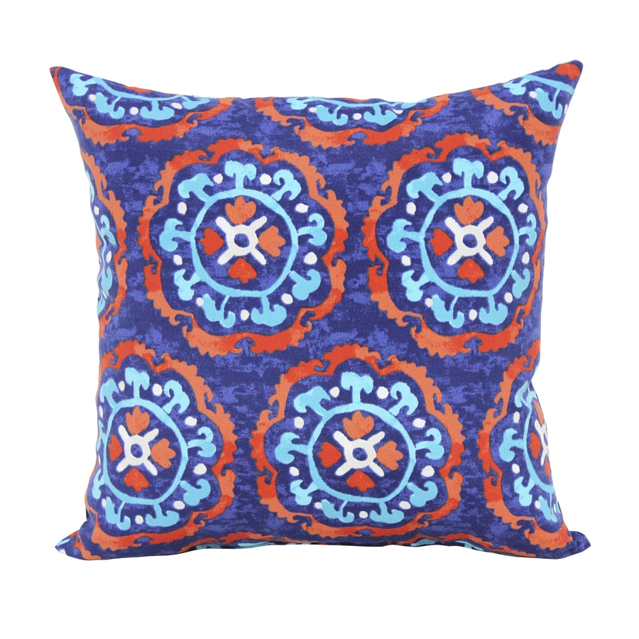 Garden Treasures Blue Multicolor Geometric Square Outdoor Decorative Pillow