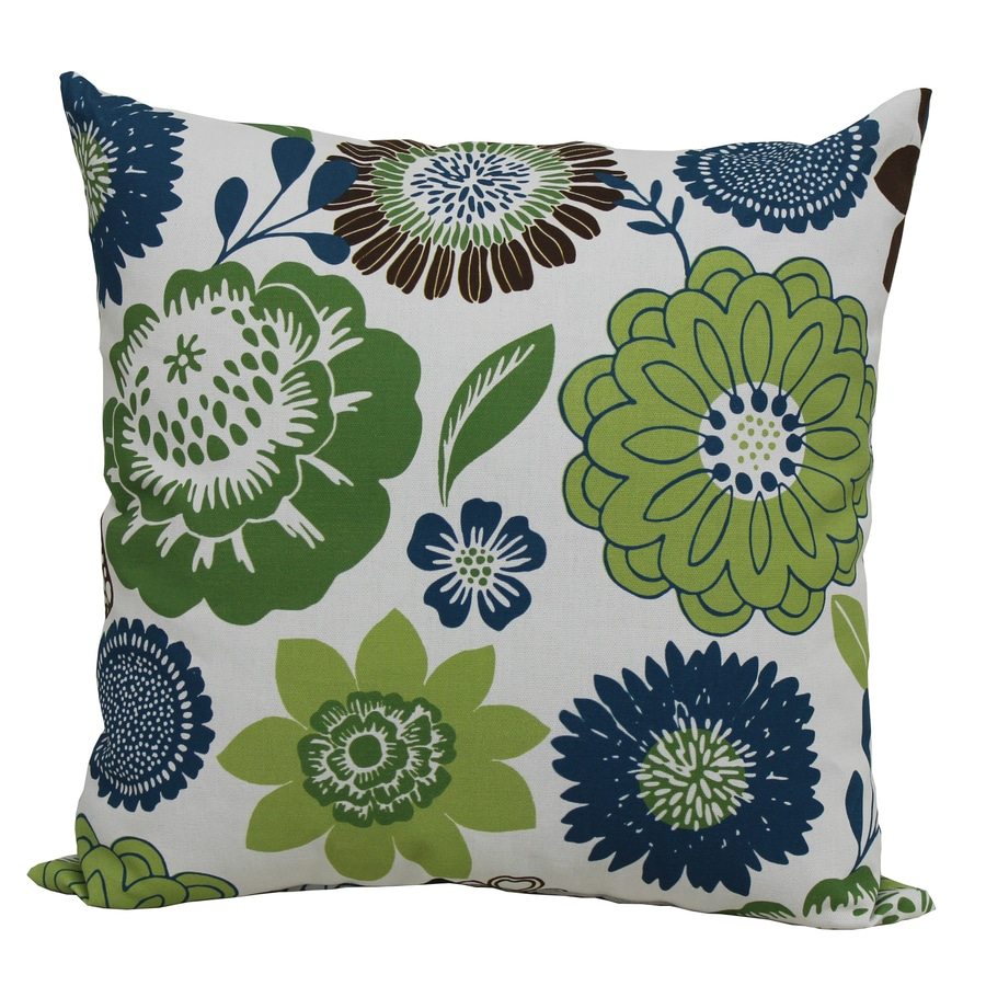 Garden Treasures Green Multicolor Floral Square Outdoor Decorative Pillow
