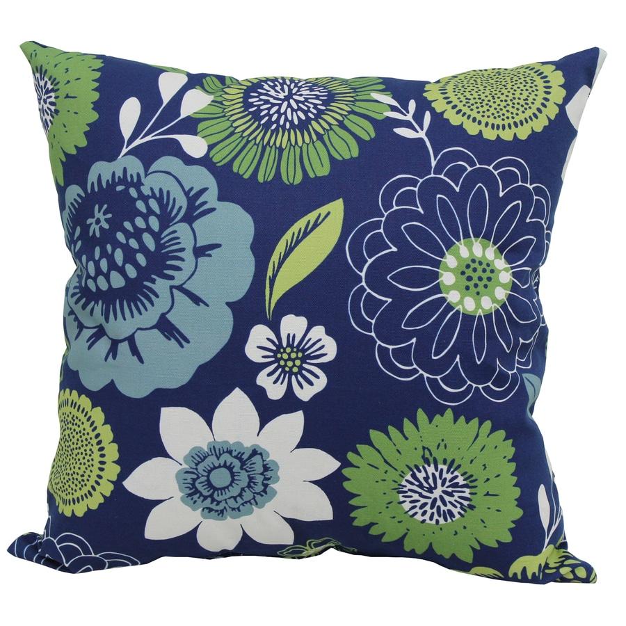 Garden Treasures Blue Multicolor Floral Square Outdoor Decorative Pillow