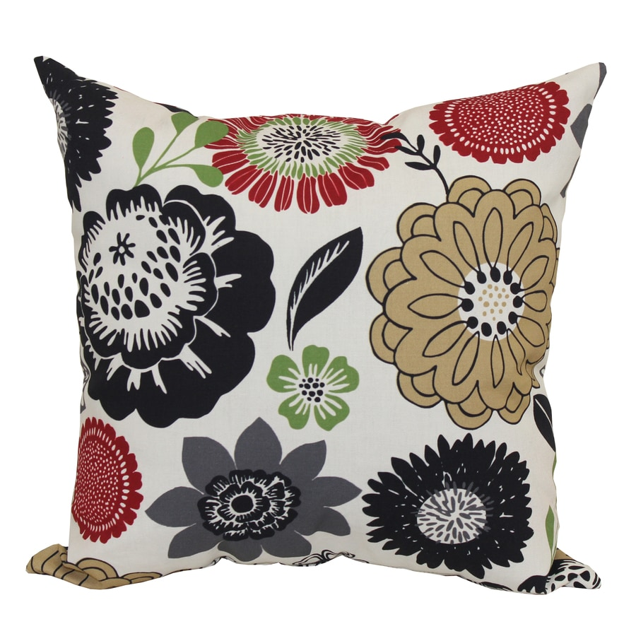 Garden Treasures Black Multicolor Floral Square Outdoor Decorative Pillow
