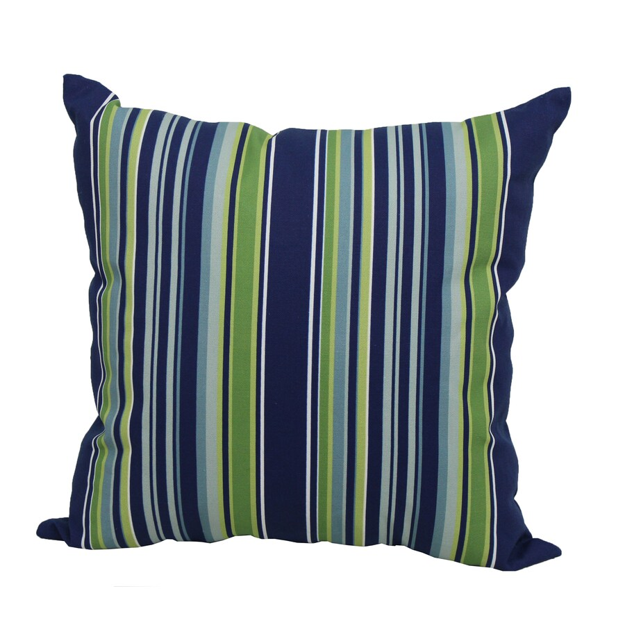 Garden Treasures Blue Multicolor Stripe Square Outdoor Decorative Pillow