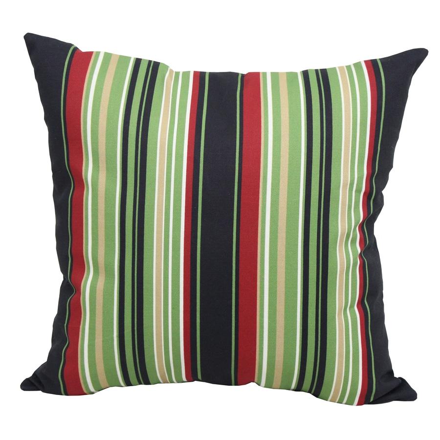Garden Treasures Black Multicolor Stripe Square Outdoor Decorative Pillow