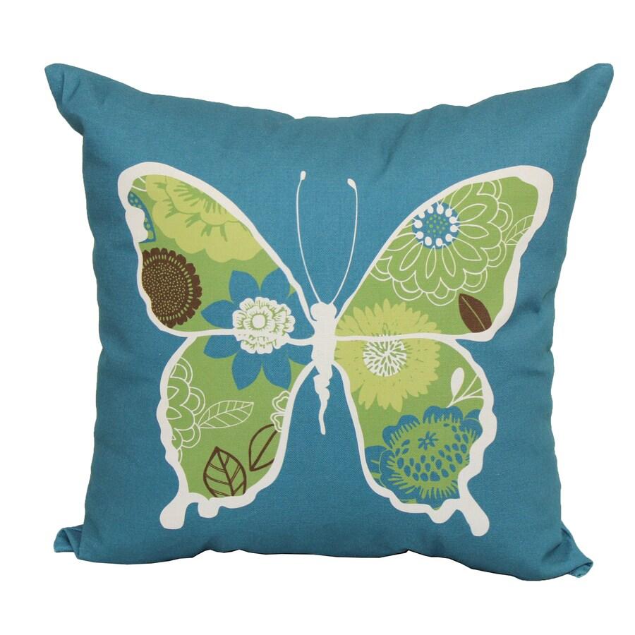 Garden Treasures Teal Multicolor Floral Square Outdoor Decorative Pillow