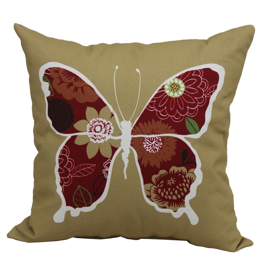 Garden Treasures Tan Multicolor Floral Square Outdoor Decorative Pillow