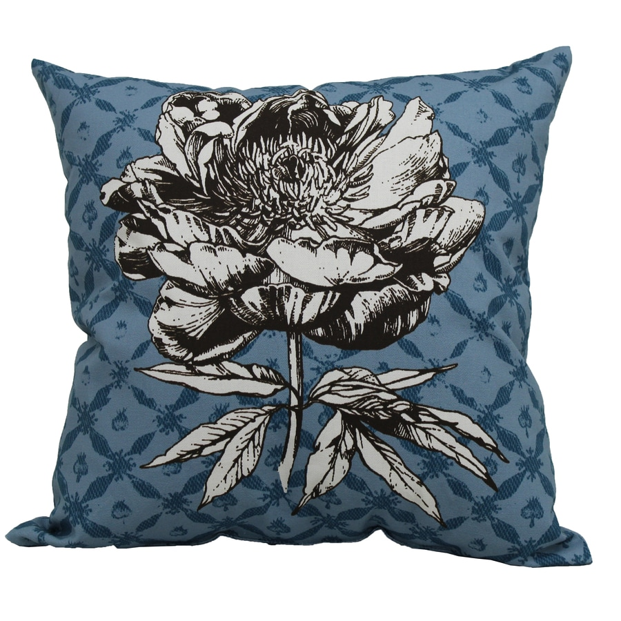 Garden Treasures Blue Multicolor Floral Square Outdoor Decorative Pillow