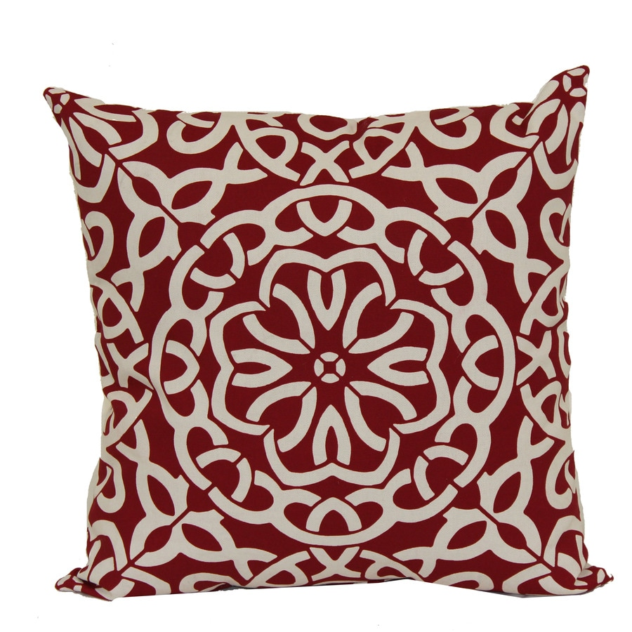 Shop Garden Treasures Red Multicolor Geometric and Geometric Square Throw Pillow Outdoor ...
