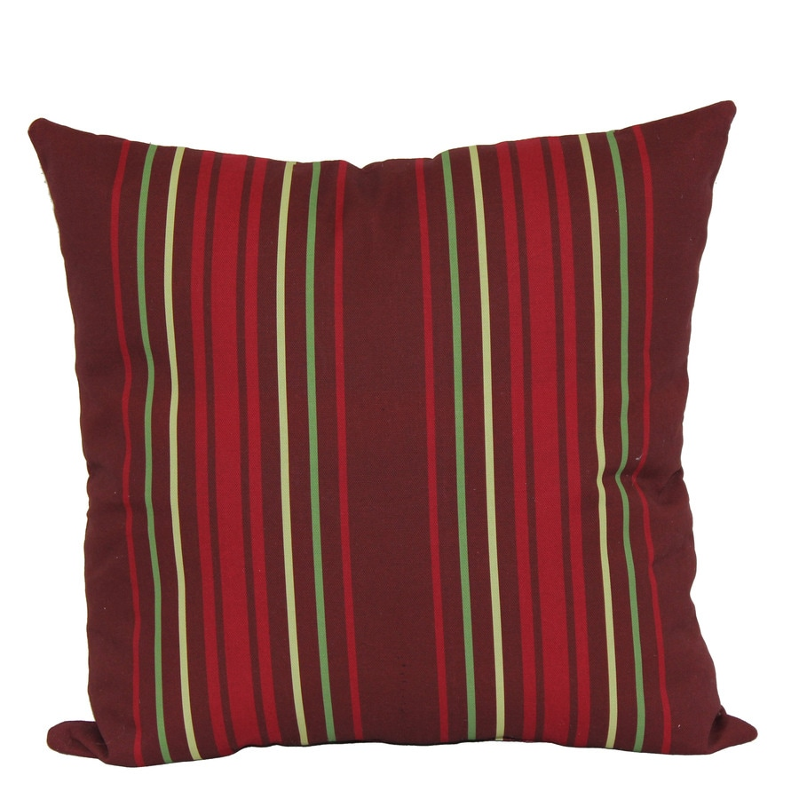 Garden Treasures Red Multicolor Stripe and Striped Square Throw Pillow Outdoor Decorative Pillow