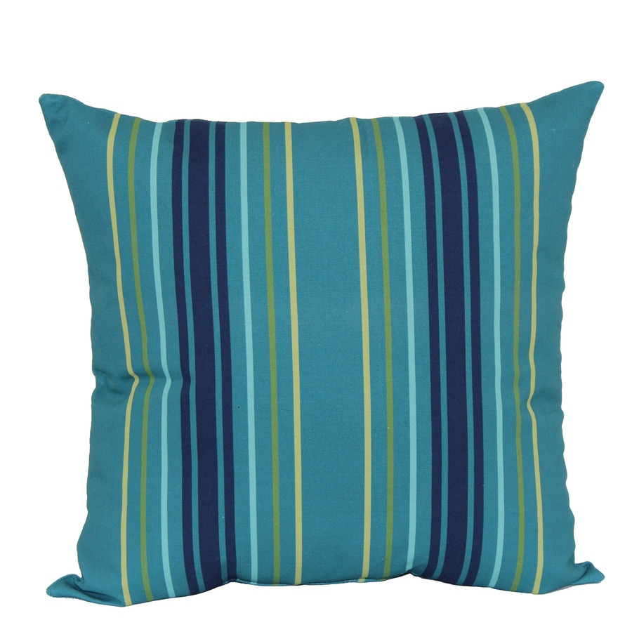 Garden Treasures Blue Multicolor Stripe and Striped Square Throw Pillow Outdoor Decorative Pillow