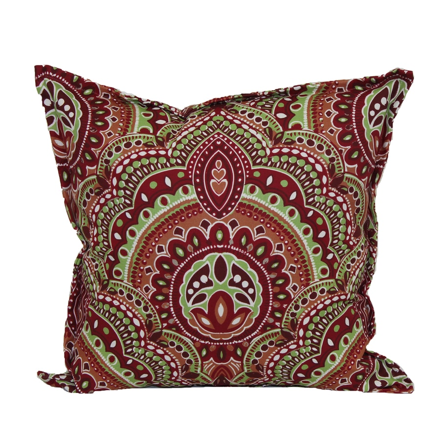 Garden Treasures Red and Green Geometric Square Throw Pillow Outdoor Decorative Pillow