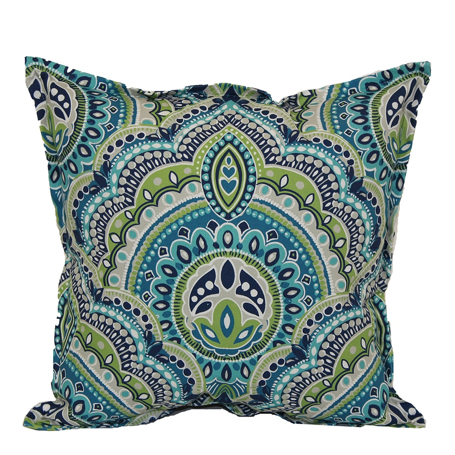 Garden Treasures Blue and Green Geometric Square Throw Outdoor Decorative  Pillow
