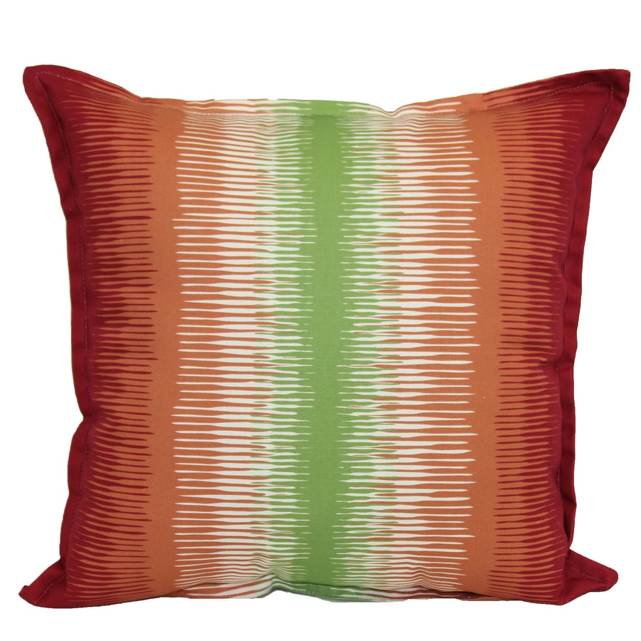 Garden Treasures Red and Green Striped Square Throw Pillow Outdoor Decorative Pillow