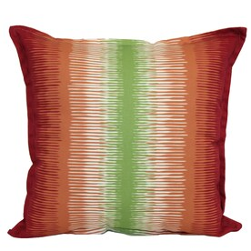 garden treasures red and green striped square throw pillow outdoor decorative pillow - Red Decorative Pillows