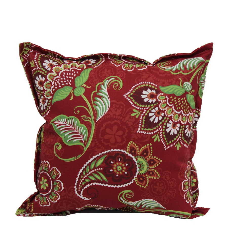Decorative Throw Pillows Nursery : Shop Garden Treasures Red and Green Paisley Square Throw Pillow Outdoor Decorative Pillow at ...