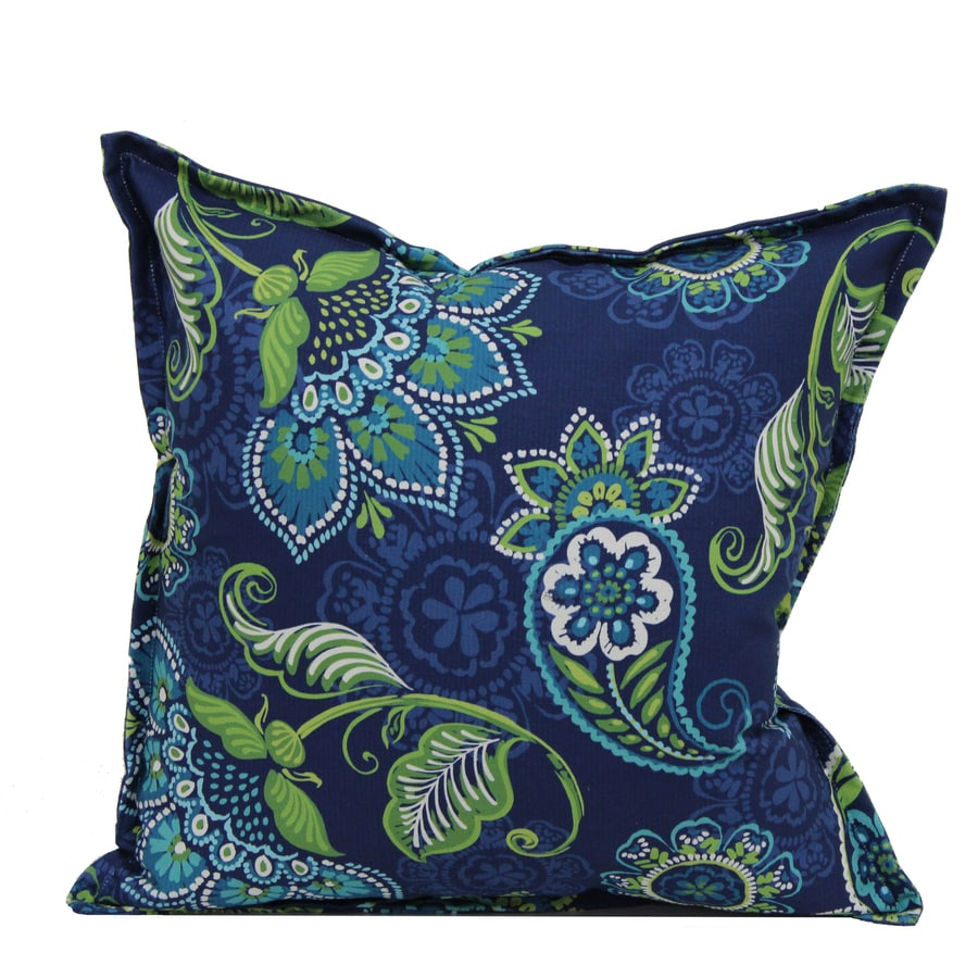 Shop Garden Treasures Blue and Green Paisley Square Throw Pillow Outdoor Decorative Pillow at ...