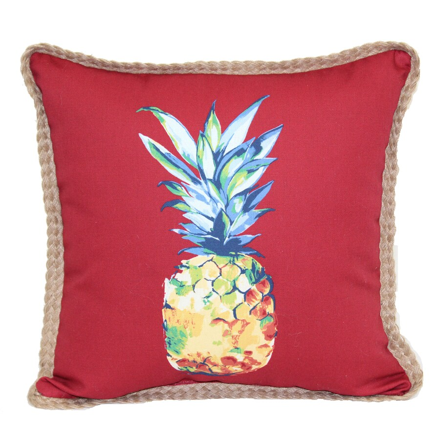 Marvelous Allen + Roth Red And Blue Tropical Square Throw Pillow Outdoor Decorative  Pillow