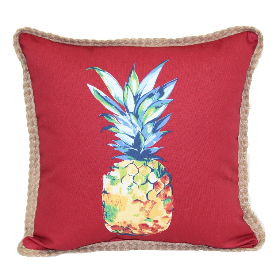 allen roth red and blue tropical square throw pillow outdoor decorative pillow - Red Decorative Pillows