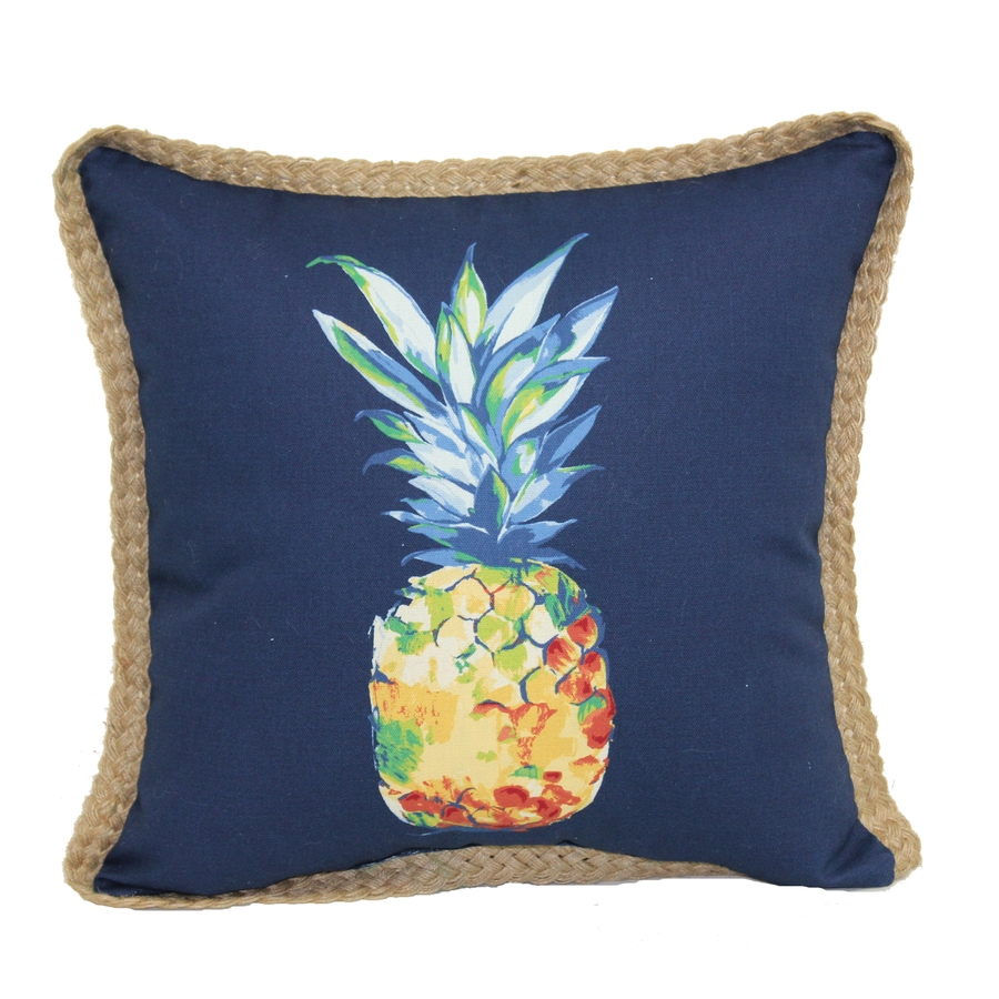 Shop allen + roth Blue and Tropical Square Throw Pillow Outdoor Decorative Pillow at Lowes.com