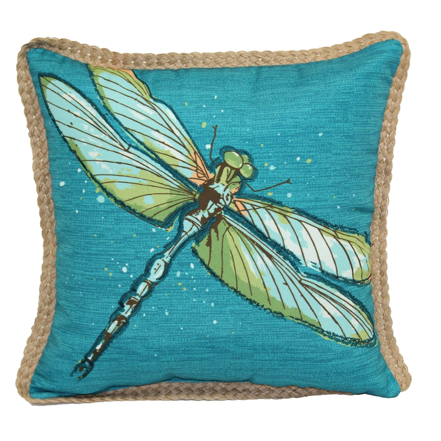 Throw Pillow With Dragonfly : Shop allen + roth Blue and Green Floral Square Throw Pillow Outdoor Decorative Pillow at Lowes.com