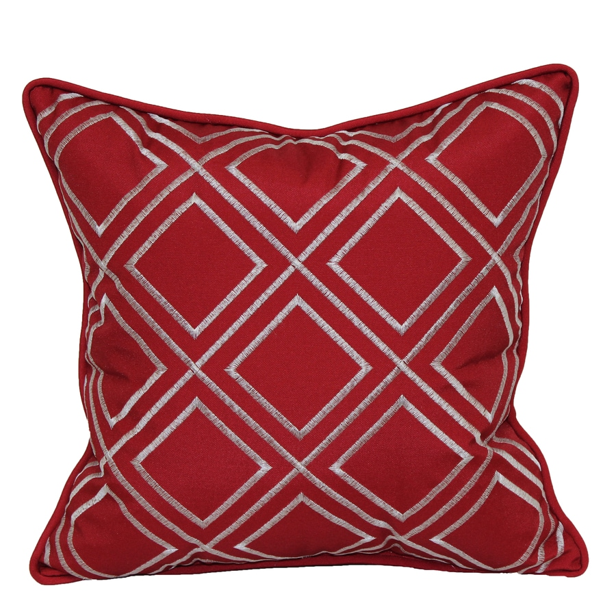 Shop allen + roth Red and White Geometric Square Throw Pillow Outdoor Decorative Pillow at Lowes.com