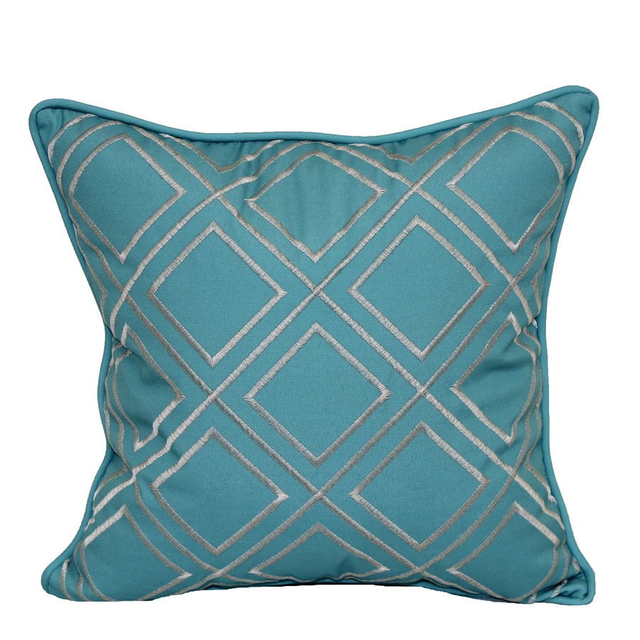 Decorative Pillow Covers Lowes : Shop allen + roth Teal and White Geometric Square Throw Pillow Outdoor Decorative Pillow at ...
