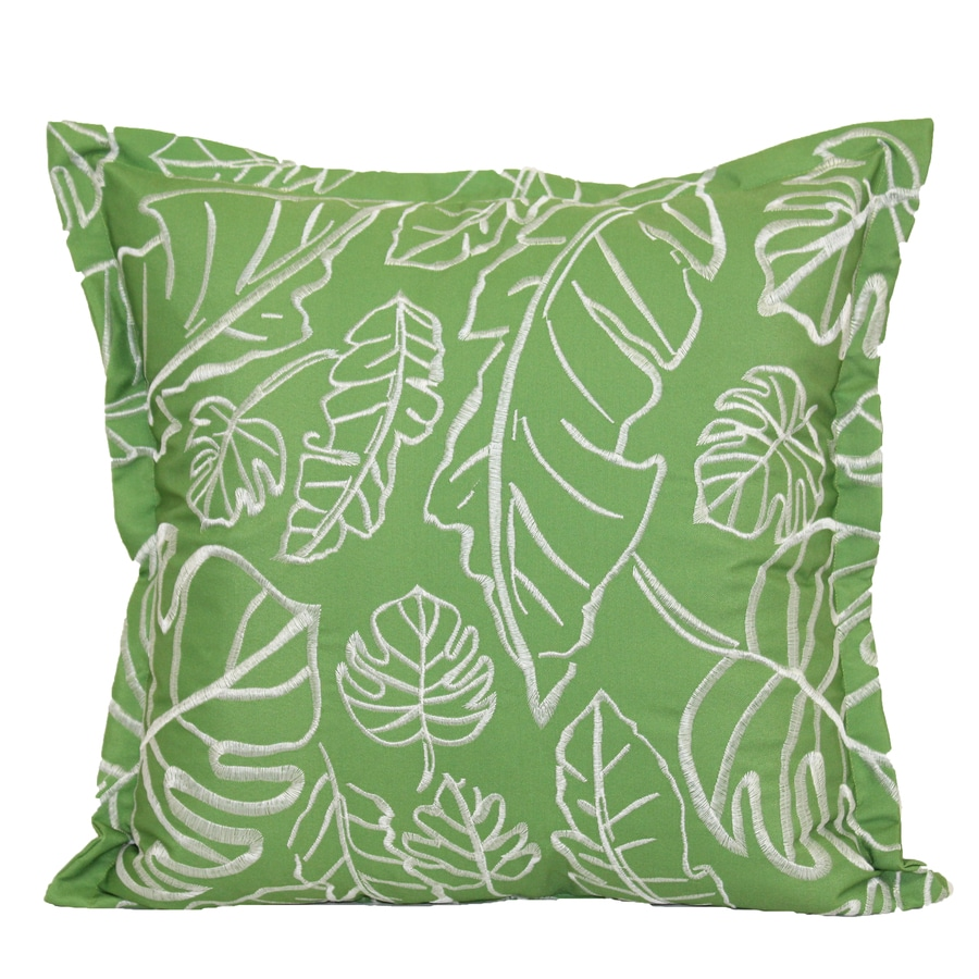 Shop allen + roth Green and White Floral Square Throw Pillow Outdoor Decorative Pillow at Lowes.com